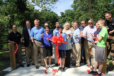 Ribbon cutting to celebrate opening of the Pohick Stream Valley - Burke VRE Trail on June 2, 2012.