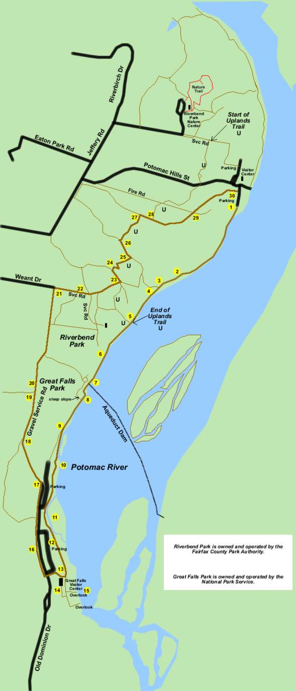Riverbend Park to Great Falls Park Map and Directions
